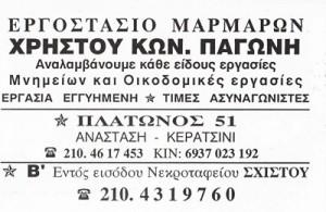ΧΡΗΣΤΟΣ ΠΑΓΩΝΗΣ - ΕΡΓΟΣΤΑΣΙΟ ΜΑΡΜΑΡΩΝ ΚΕΡΑΤΣΙΝΙ - ΜΑΡΜΑΡΟΓΛΥΦΕΙΟ ΚΕΡΑΤΣΙΝΙ